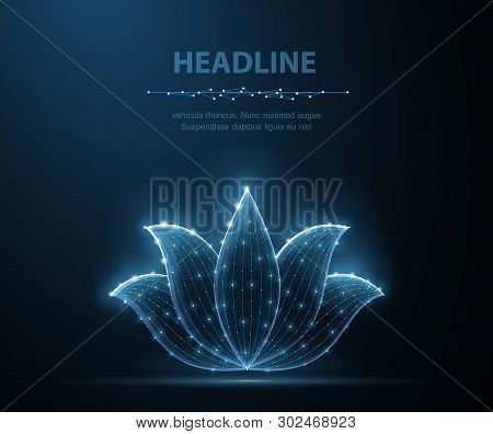 Lotus. Abstract Vector Lotus Flower Icon Isolated On Blue Background. Natural Beauty, Floral Ornamen