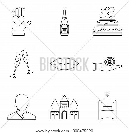 Wedding Ceremony Icons Set. Outline Set Of 9 Wedding Ceremony Icons For Web Isolated On White Backgr