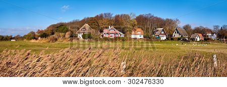 Panoramic Image With Traditional Houses In Kloster, Village On The North Of Hiddensee, A Car-free Is
