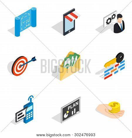 Entrepreneurial Idea Icons Set. Isometric Set Of 9 Entrepreneurial Idea Icons For Web Isolated On Wh