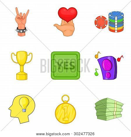 Winning Party Icons Set. Cartoon Set Of 9 Winning Party Icons For Web Isolated On White Background