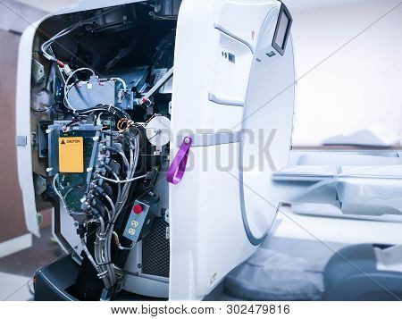 After Maintenance Engineer Repairing And Checking Ct Scanner Machine Showing Engine Inside Ct Scanne