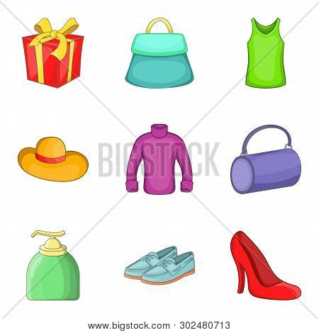 Womenswear Icons Set. Cartoon Set Of 9 Womenswear Icons For Web Isolated On White Background