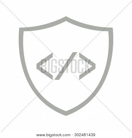 Pair Of Brackets And A Slash On A Shield Symbol - Vector