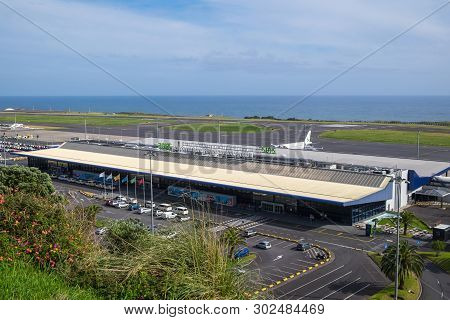 San Miguel, Portugal - May 12, 2019: Beautiful View Of Ponta Delgada Airport Against The Sky And The