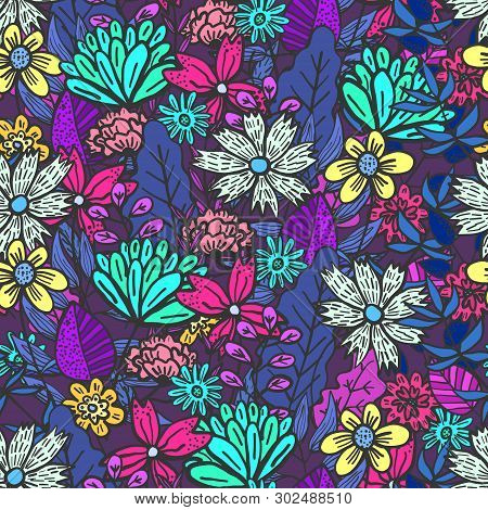 Magic Purple Doodle Floral Seamless Pattern With Mess Of Colorful Flowers And Leaves. Childish Textu