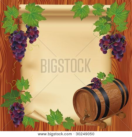 Background With Grape, Barrel And Paper On Wooden Board