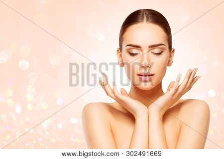 Face Beauty Skin Care, Woman Natural Make Up, Beautiful Model Closed Eyes Advertising Product In Han