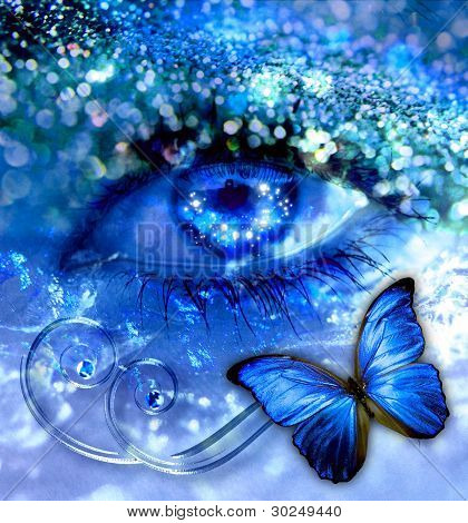 Blue Eye With A Butterfly