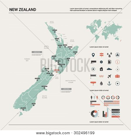 Vector Map Of  New Zealand. Country Map With Division, Cities And Capital Wellington. Political Map,