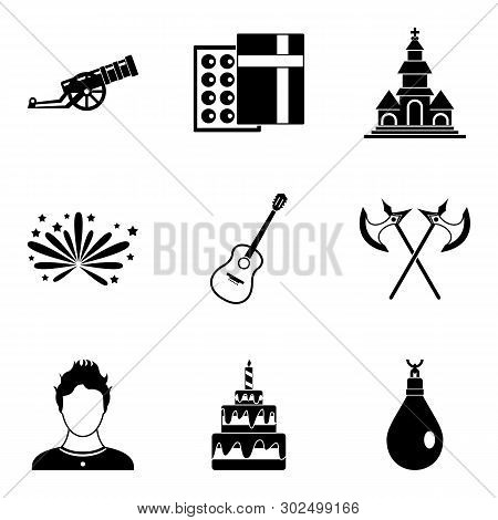 Beloved icons set. Simple set of 9 beloved icons for web isolated on white background poster