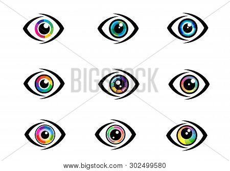 Eye Icon - Eye Symbol. Flat Eye Sign Vector. Colorful Eye Icons