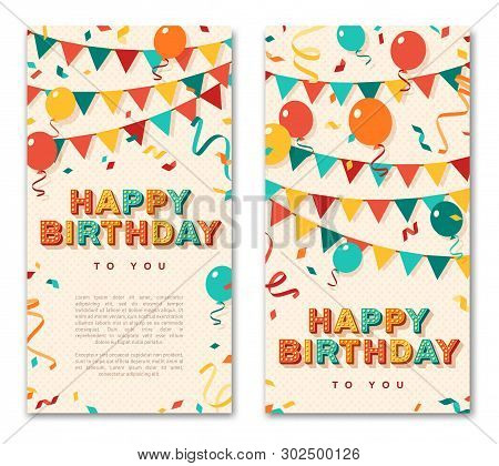 Happy Birthday Greeting Cards, Vertical Banners With Retro Typography Design. Vector Illustration. 3