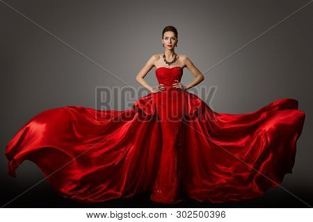 Fashion Model Red Dress, Woman In Long Fluttering Waving Gown, Young Girl Beauty Portrait