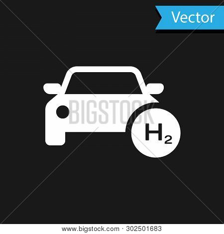 White Hydrogen Car Icon Isolated On Black Background. H2 Station Sign. Hydrogen Fuel Cell Car Eco En