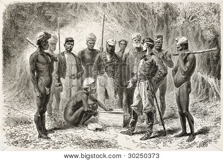 French emissary giving gifts to New Caledonian natives. Created by Neuville after photo of unknown author, published on Le Tour Du Monde, Paris, 1867 poster