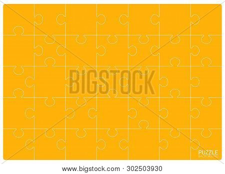Yellow Puzzles Grid Template. Jigsaw Puzzle 24 Pieces, Thinking Game And 6x4 Jigsaws Detail Frame De