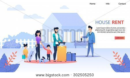 House Rent Service Flat Landing Page. Realtor Gives Keys To Family From New Home. Wife And Husband W