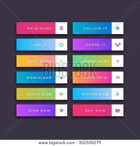 Set Of Button Trendy Gradient Style With User Interface Icon Isolated On Transparent Background For
