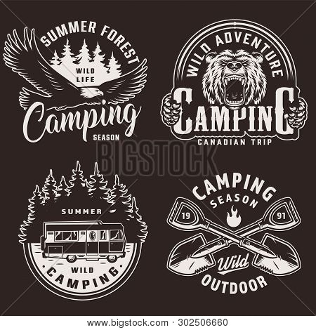 Vintage Camping Season Monochrome Labels With Flying Eagle Ferocious Bear Head Motorhome Forest Silh