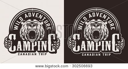 Vintage Monochrome Camping Emblem With Ferocious Bear Head Isolated Vector Illustration