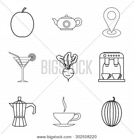 Vegetarian Ration Icons Set. Outline Set Of 9 Vegetarian Ration Icons For Web Isolated On White Back