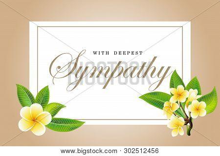 Condolences Sympathy Card Floral Frangipani Or Plumeria Bouquet And Lettering