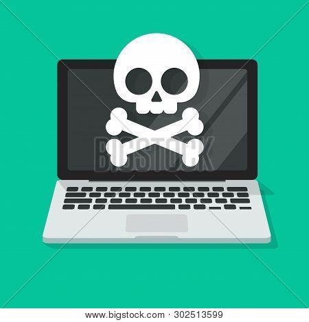 Computer Virus Or Malware Alert Vector Illustration, Flat Cartoon Laptop Damaged Or Spyware Error On