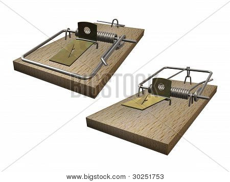 3D illustration of Open and closed mousetrap on white background. Theme of the bait, danger, greed, risk, hazard ... and catching of mouse. poster