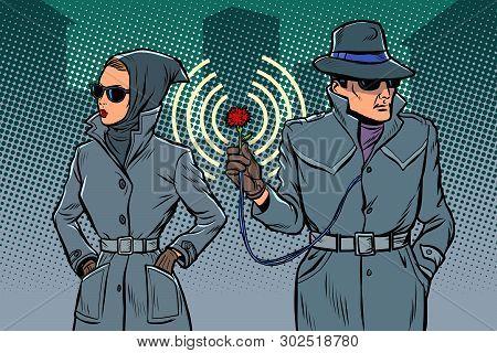 Man And Woman Secret Agents, Spies. Comic Cartoon Pop Art Retro Illustration Drawing