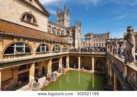 Bath, England - May 13, 2019 : Inside Of Roman Baths Which Is A Site Of Historical Interest In The C