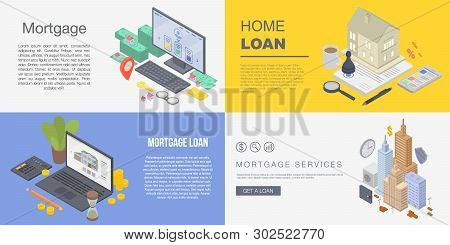 Mortgage Banner Set. Isometric Set Of Mortgage Vector Banner For Web Design