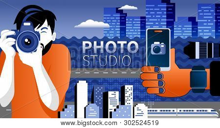 Happy Photographer Is Taking A Photo Using Slr Camera. Flat Vector Illustration Of Young Male Charac