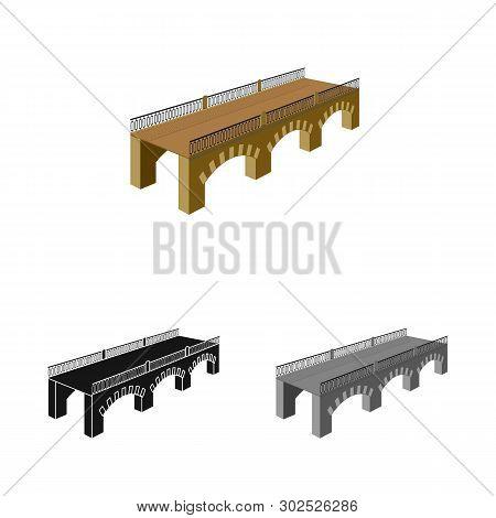 Vector Design Of Bridge And Relocation Icon. Collection Of Bridge And Column Stock Vector Illustrati