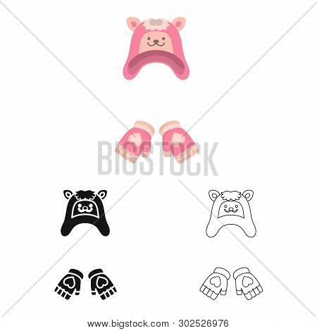 Vector Design Of Hat And Gloves  Logo. Collection Of Hat And Pompom Stock Vector Illustration.
