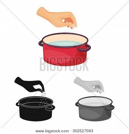 Isolated Object Of Casserole And Water Logo. Set Of Casserole And Arm Stock Symbol For Web.