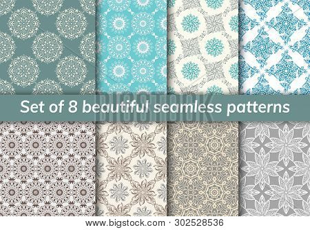 Pattern Set Arabic, Indian, Japanese, Islamic Motifs. Collection Of 8 Patterns. Mandala Seamless Pat