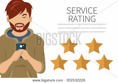 Service Rating Concept Of Young Man Using Smartphone To Leave A Feedback. Concept Of Feedback, Testi