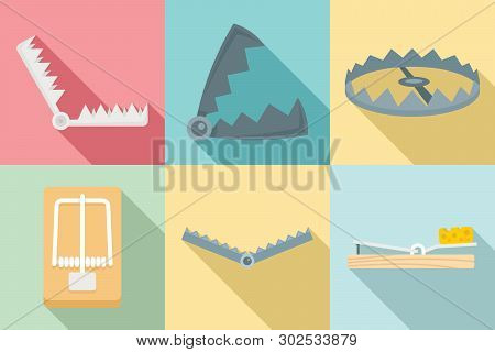 Trap Icons Set. Flat Set Of Trap Vector Icons For Web Design
