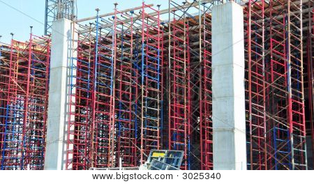 Red And Blue Construction Scaffolding
