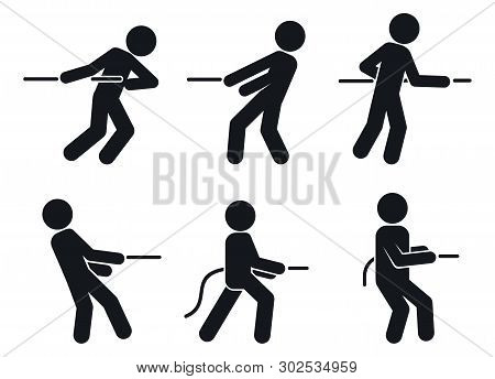 Tug Of War Pull Icons Set. Simple Set Of Tug Of War Pull Vector Icons For Web Design On White Backgr