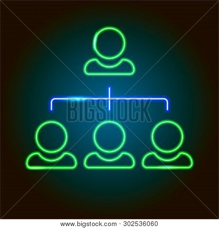 Neon Group Of Buisiness People, Teamwork Icon Isolated