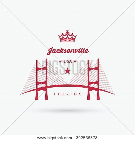 The Dames Point Bridge Over The St. Johns River In Jacksonville, Florida - Vector Illustration - Vec