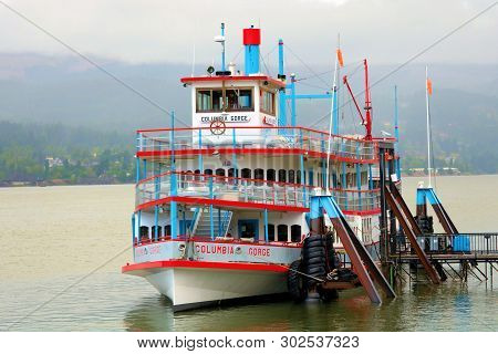 May 20, 2019 In Cascade Locks, Or:  Columbia Gorge Sternwheeler Cruise Ship Which Is A Sightseeing B