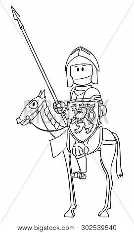 Vector Cartoon Stick Figure Drawing Conceptual Illustration Of Knight In Armor With Lance Or Spear A