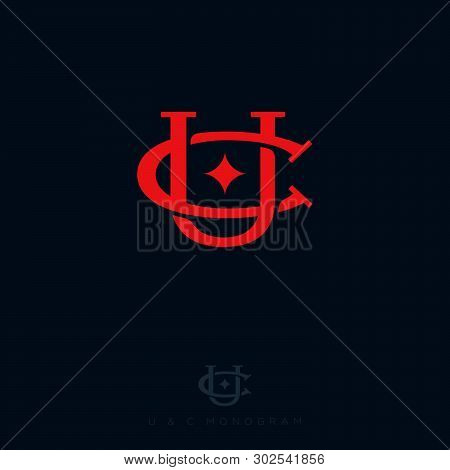 C And U Letters With Star. C, U Monogram Consist Of Intertwined Lines. Red Letters Combined, Isolate