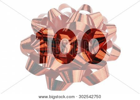 Symbol For, For Example, 100th Anniversary Or 100 Percent Content In The Form Of A Gift Loop With Th