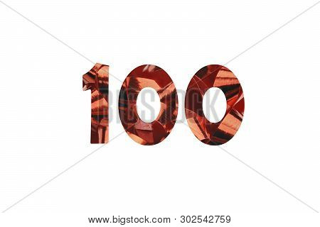 Number 100 - Illustration Red Gift Ribbon With Cut Out Number 100