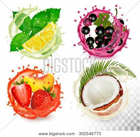 Big Group Of Fruit In Juice Splash Icons. Mint And Citron, Coconut, Peach And Strawberry, Blackberry