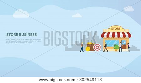Open Offline Store Or Shop Business Building Concept For Website Template Or Banner Landing Homepage